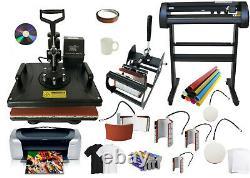 34 500g Red Laser Vinyl Cutter Plotter, 8in1 Combo Heat Press, Printer, Refil Ink