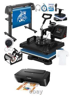 6 In 1 Vinyl Cutter Plotter Heat Press Sublimation Printer Business Set Up Kit