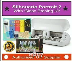Silhouette Portrait 2, Vinyl Cutter, Plotter With Glass Etching Starter Kit