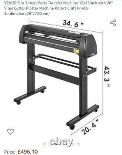 VEVOR 5 in 1 Heat Press 12x15 Vinyl Cutter Plotter 28 Software Sublimation