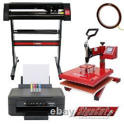Vinyl Cutter Sublimation Printer Swing Heat Press Plotter Machine 28 T-Shirt