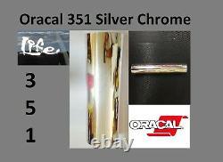 12 X 150 Pieds Oracal 351 Argent Chrome Craft & Hobby Coupe Film De Vinyle