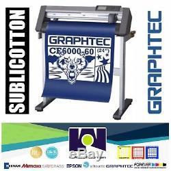 Bundle 24 Graphtec Ce6000-60 Plus Vinyle Cutter / Traceur + Sublicotton 24x50