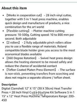 Vevor 5 En 1 Presse À Chaleur 12x15 Plotter De Cutter En Vinyle 28 Sublimation Logicielle